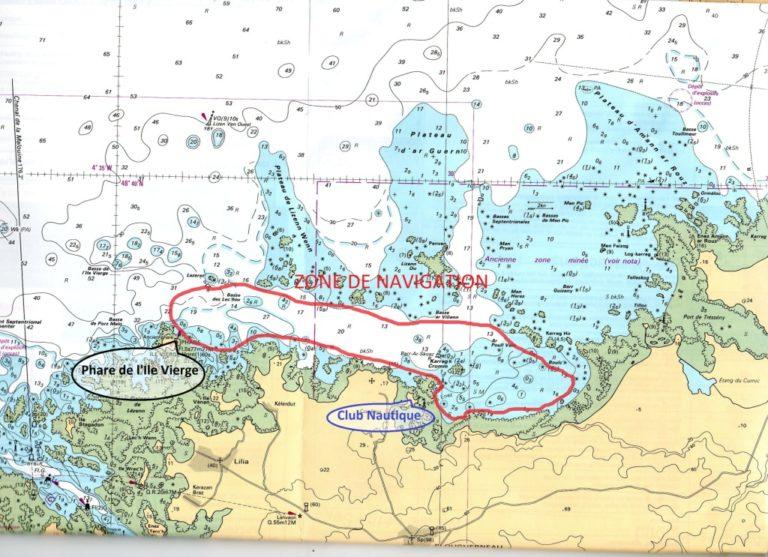 la zone de navigation catamaran
